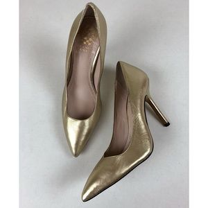 Vince Camuto HARTY Gold Metallic Pumps Shoes